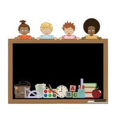 Kids holding blackboard vector