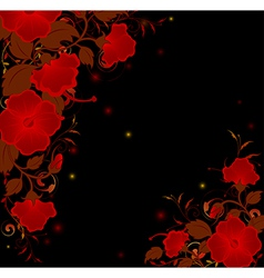 Black background with red flowers vector