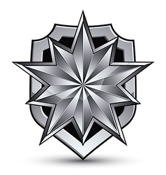 Branded gray geometric symbol stylized silver star vector