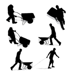 Construction workers with wheelbarrow vector