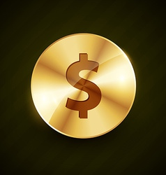 Dollar symbol engraved on golden coin vector