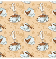 Steam coffee cups seamless pattern vector