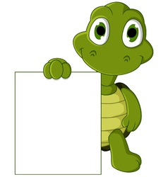 Cute green turtle cartoon with blank sign vector