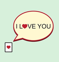 I love you speech bubble with tablet vector