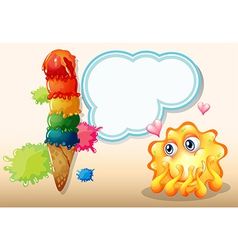 A super in-love monster near the giant icecream vector