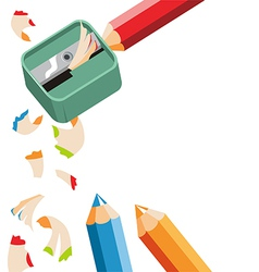 Pencil sharpener and colored pencils on white back vector