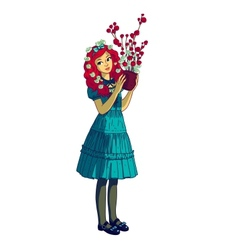 Beautiful girl with flower pot vector