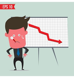Cartoon business man present with red graph - vector