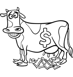Cash cow saying coloring page vector