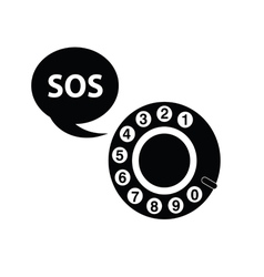 Telephone sos black vector