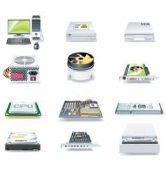 Computer parts icon set vector