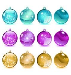 Multicolored christmas balls set 4 of 4 vector