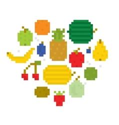 Heart of fruits pixel art i vector