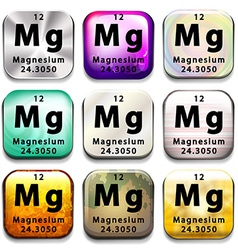 Buttons showing magnesium and its abbreviation vector