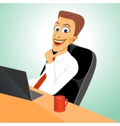 Business man sitting in office with laptop vector