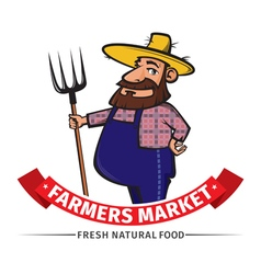 Label or logo with farmer vector