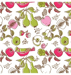Bird and fruit wallpaper vector