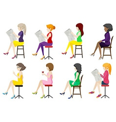 Eight faceless ladies sitting down vector