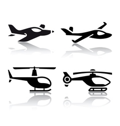 Set of transport icons - airplane and helicopter vector