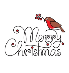 Merry christmas hand lettering with bullfinch and vector