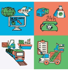 Logistic design concept flat icons vector