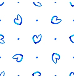 Seamless pattern with blue hearts vector