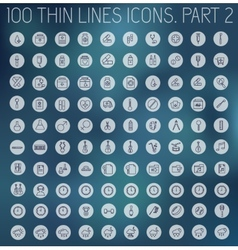 Part 2 of collection thin lines pictogram icon vector