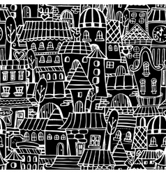 Cartoon fairy tale drawing houses seamless pattern vector
