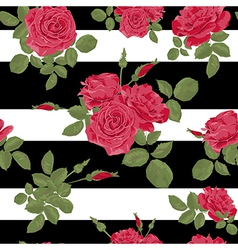 Seamless flower red roses pattern with horizontal vector
