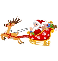 Santa in his christmas sled being pulled by reinde vector