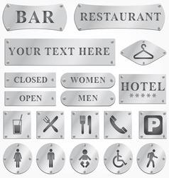 Metal sign plates vector