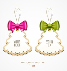 Label paper and colorful ribbons merry christmas vector