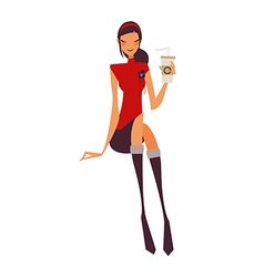 Girl with takeaway drink vector