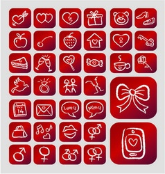 Love icons chalk drawing style vector