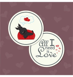 Valentine card with dog on sofa vector