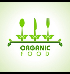 Organic food with kitchen utensils concept vector