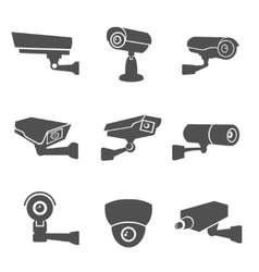 Surveillance camera icons vector