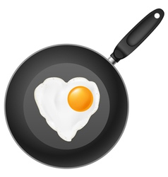 Frying pan with heart-shaped fried egg on white vector