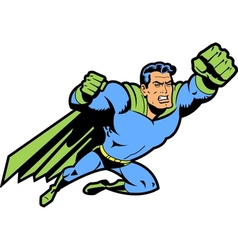 Flying superhero with clenched fist vector