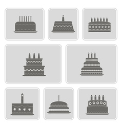 Monochrome icons with birthday cakefor vector