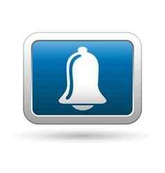 Ringing bell icon on blue with silver button vector