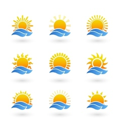 Sunrise or sunset icons vector