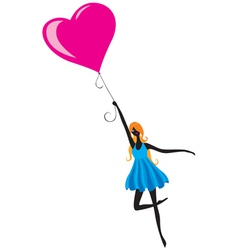 Girl flying in air balloon vector