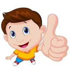 Boy cartoon with thumb up vector