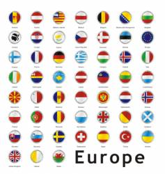 Europe round flags vector