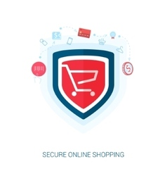 Secure shopping and safe e-cmmerce flat icons vector