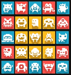 Set of flat pixels art monsters vector