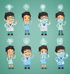 Doctors with simbols set vector
