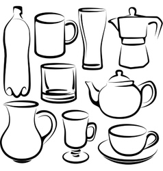 Set of drink icons vector
