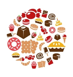Sweets icons in circle vector